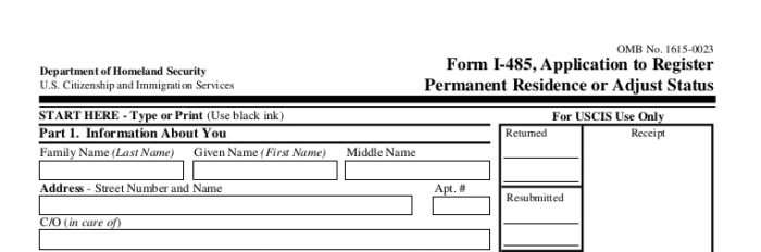 USCIS Form I-485, Adjustment of Status
