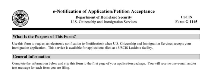 U.S. Immigration Form G-1145