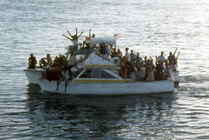 Cuban refugees near Key West during the 1980 Mariel Boatlift