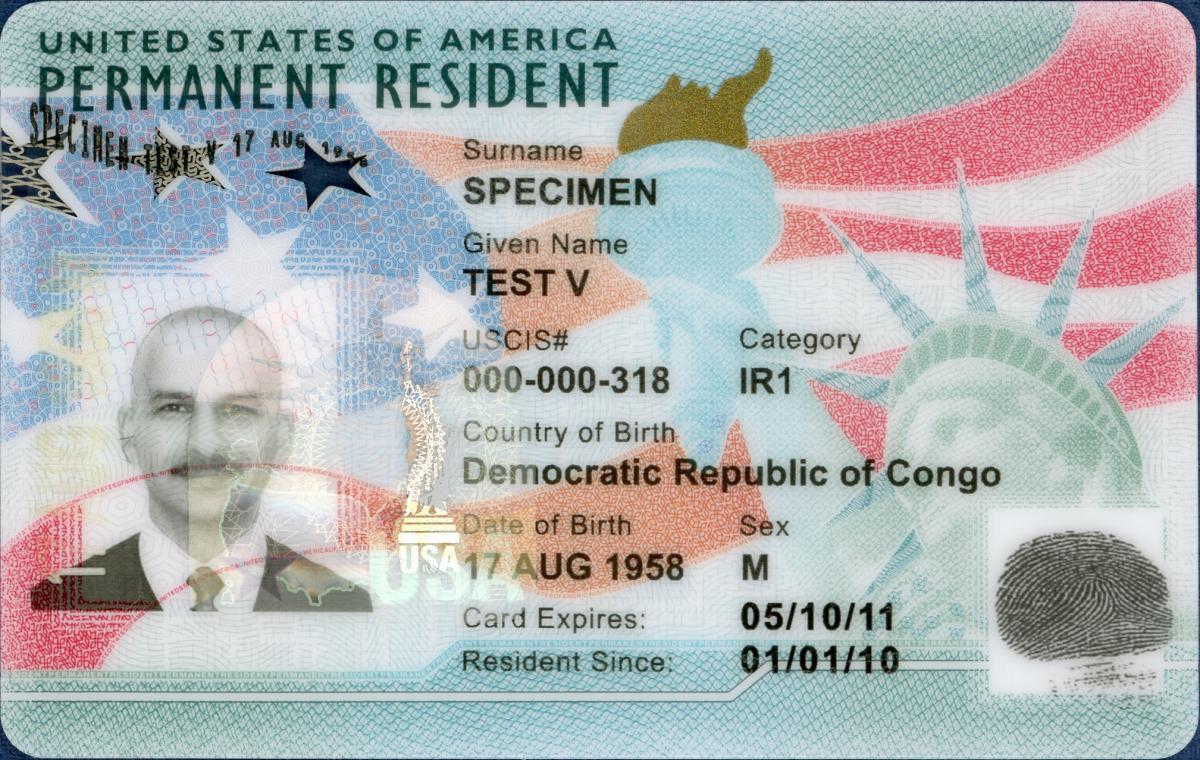 Example of U.S. Green Card