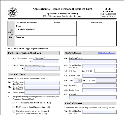 Form I-90 - Expired Green Card Renewal Application