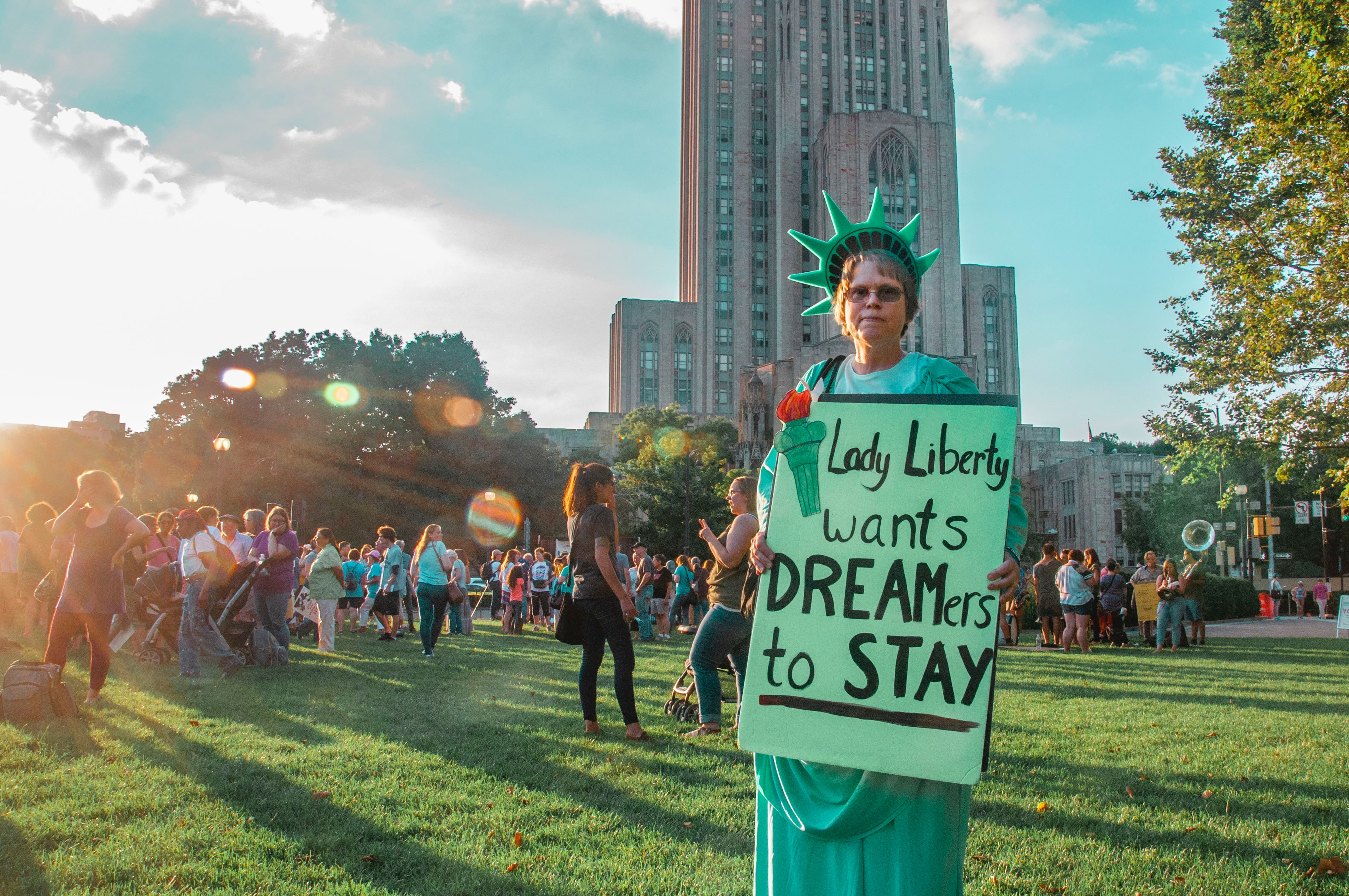 A woman protests DACA.