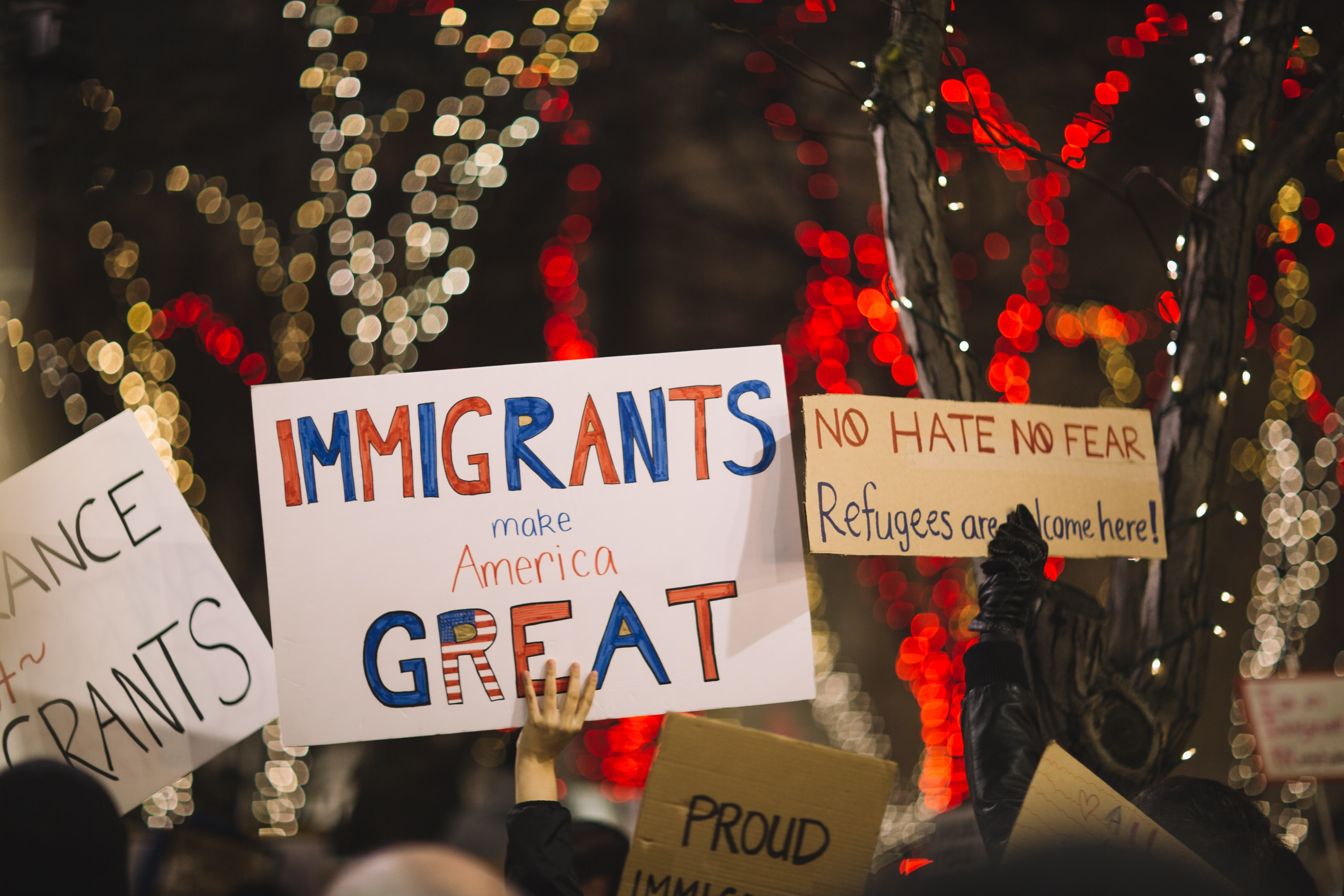People protesting harsh immigration policies.