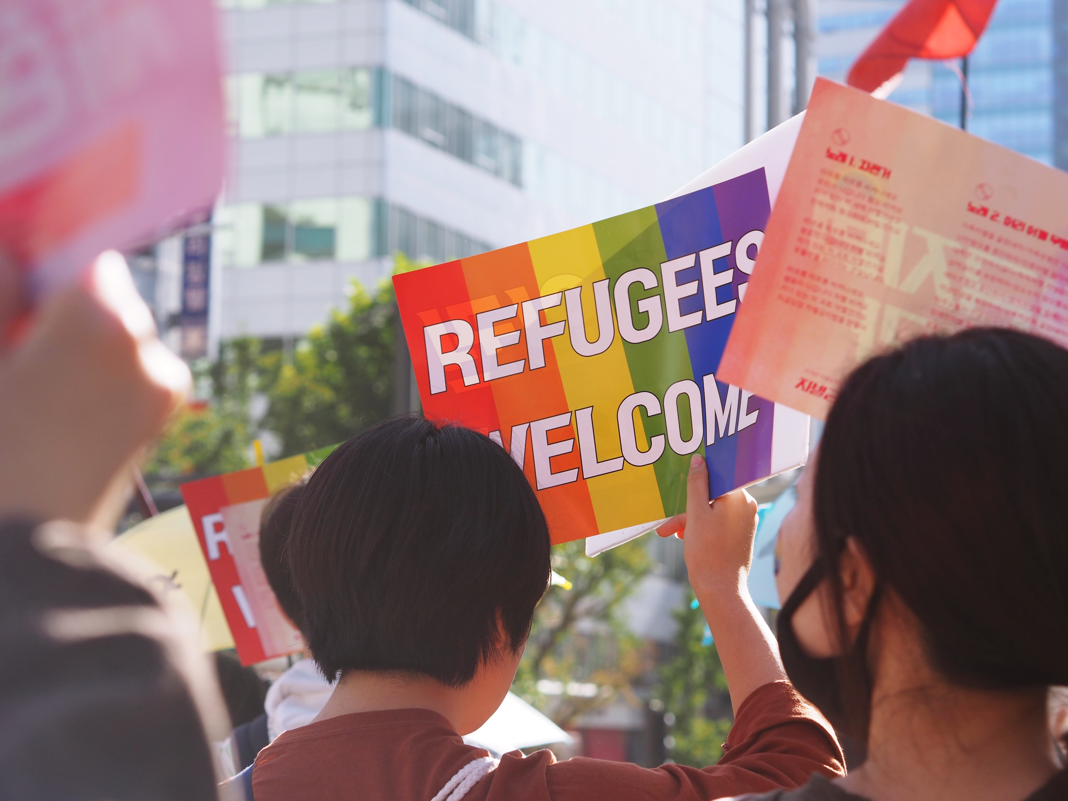 Protesters in support of refugees.