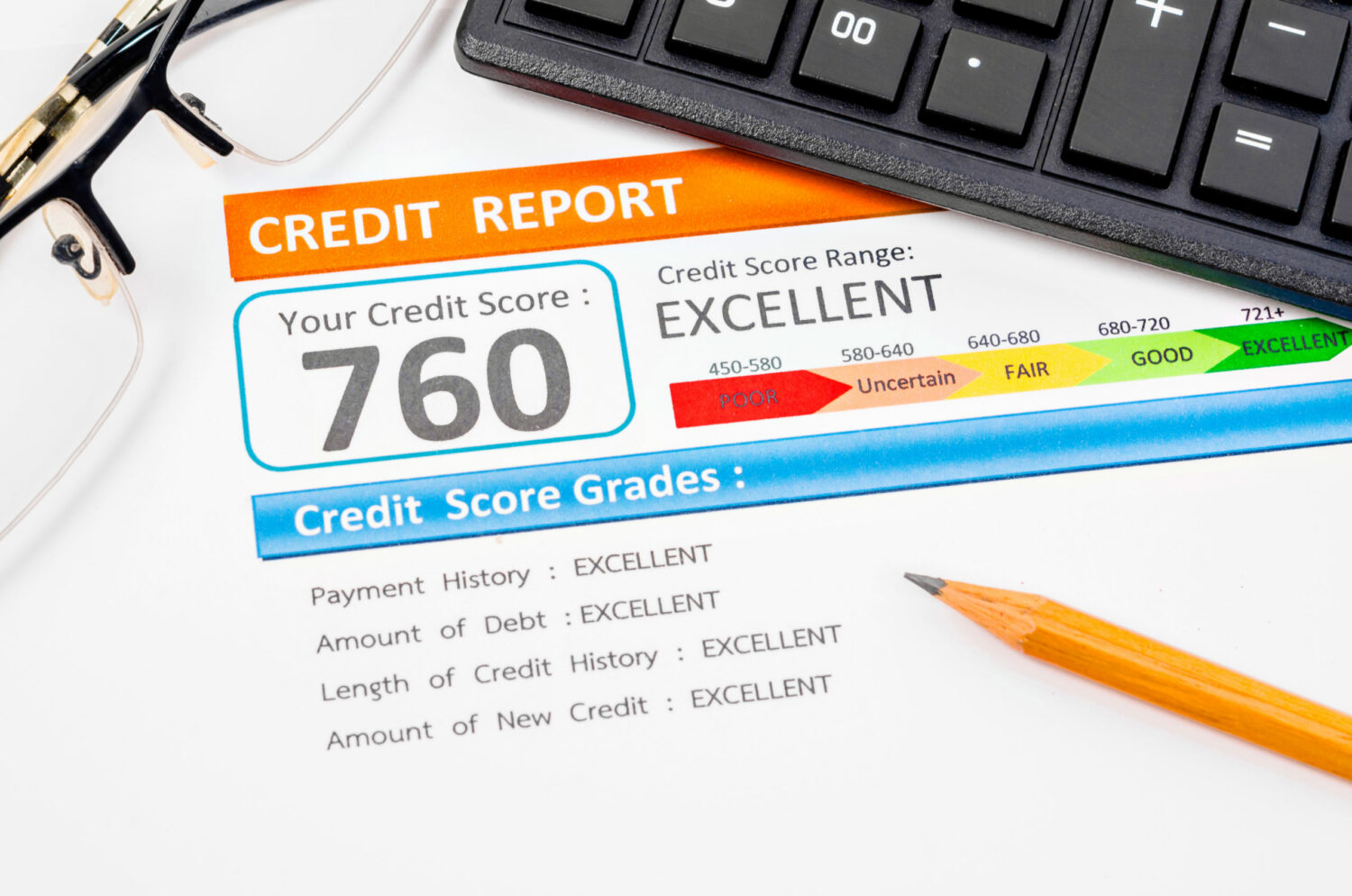 A credit report with an 'excellent