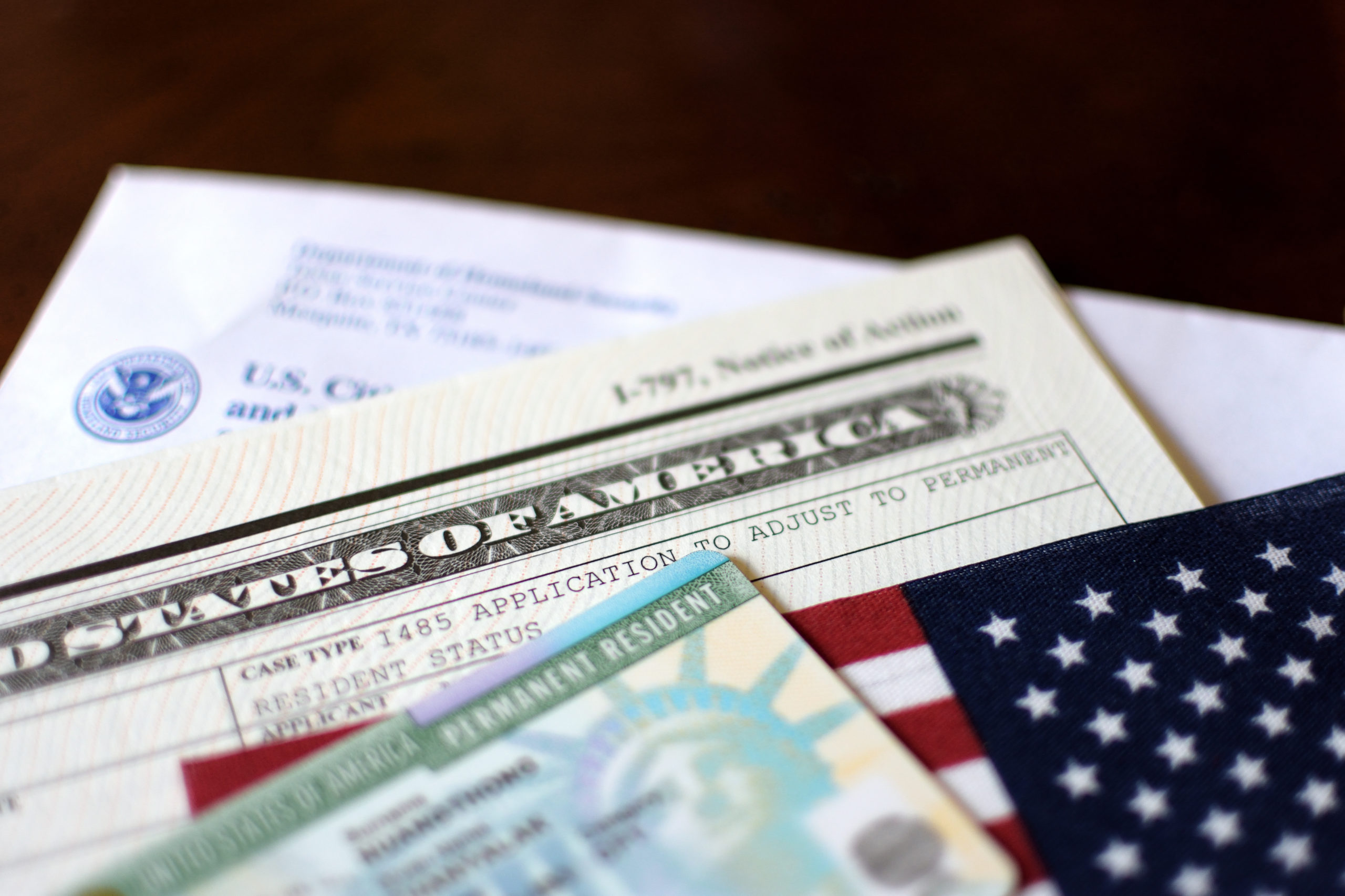 A green card and green card application form.