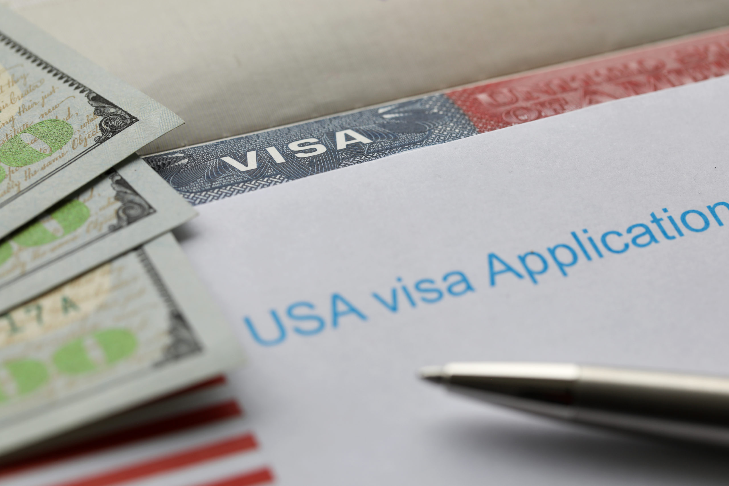 A U.S. visa application and money.