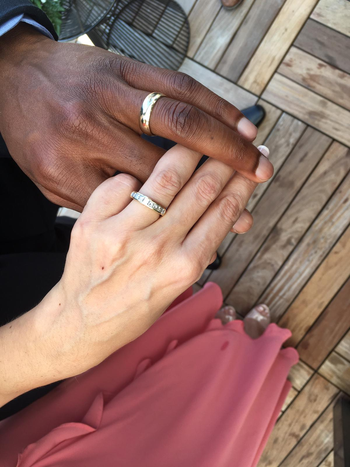 Wedding rings on a couple's hands