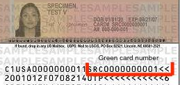 Green Card Number Location