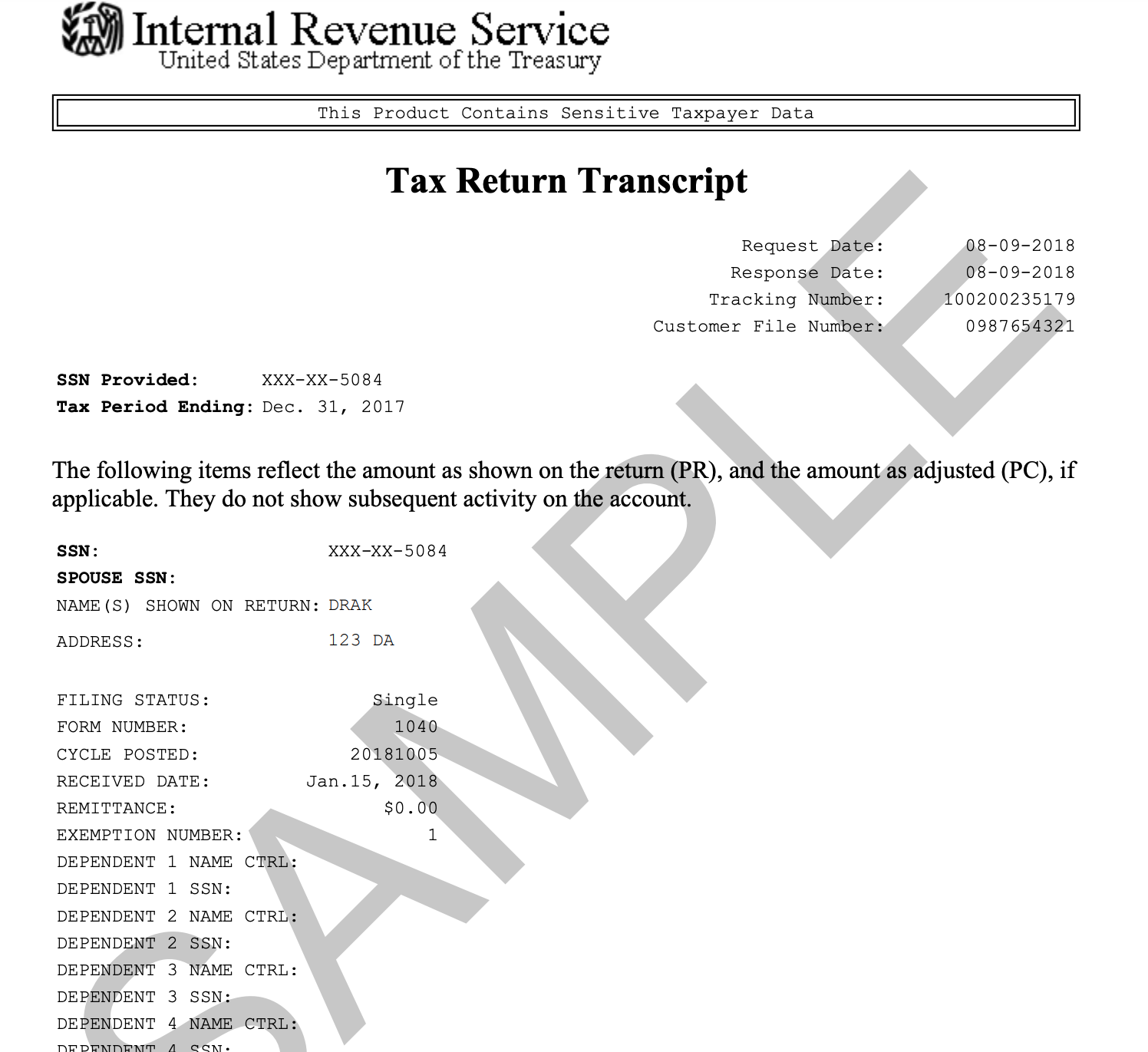 U.S. Federal Tax Return Transcript
