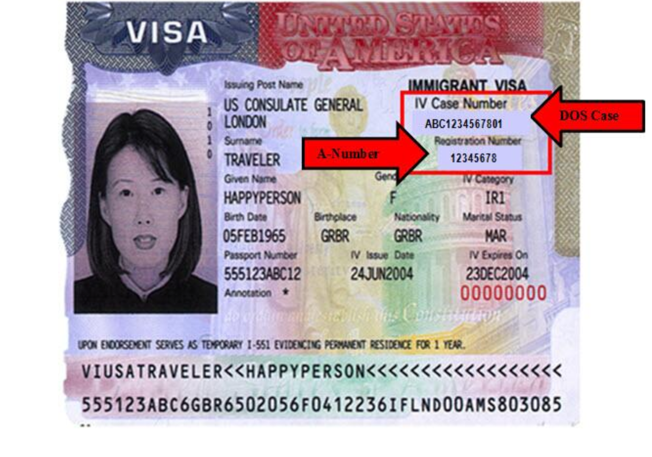 Alien Registration Number on U.S. Visa