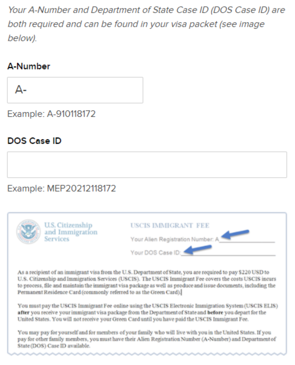 The alien registration number on an immigrant data summary