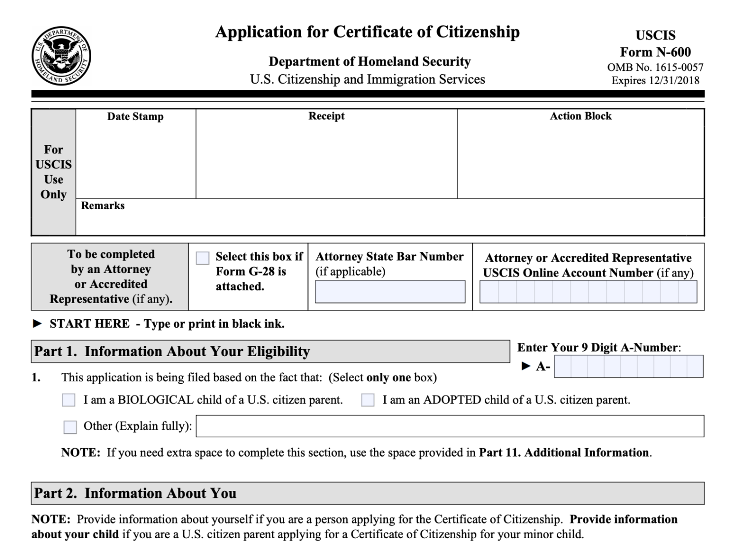 Form N-600, Application for Certificate of Citizenship