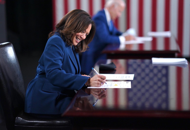 Kamala Harris and Joe Biden sign paperwork to get on the ballot
