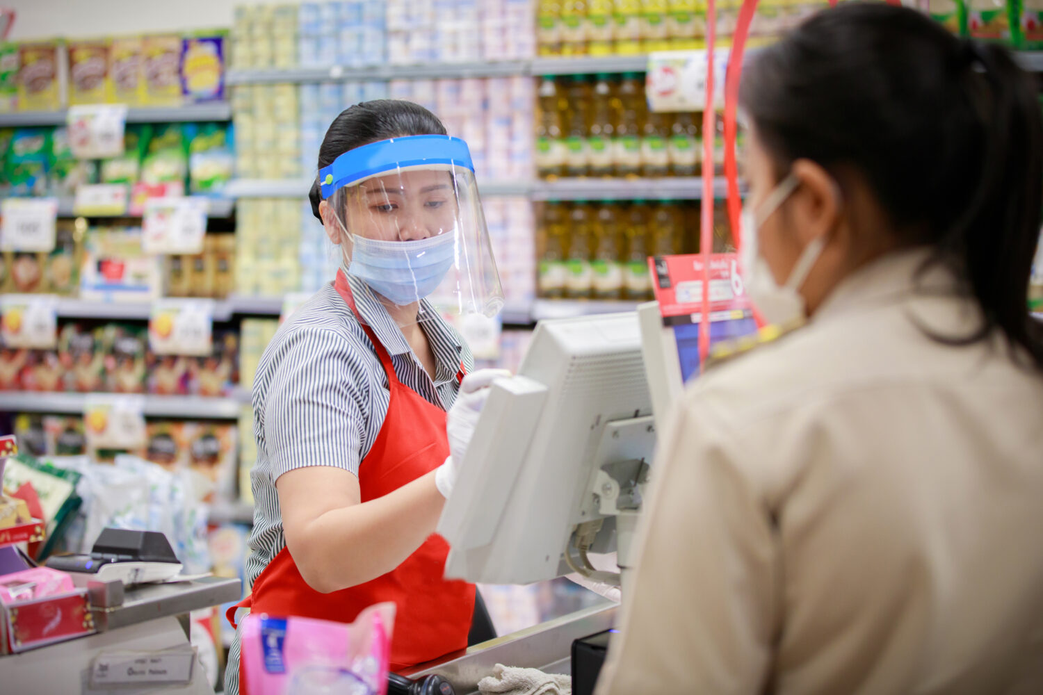 Immigrant grocery store worker during the coronavirus pandemic.