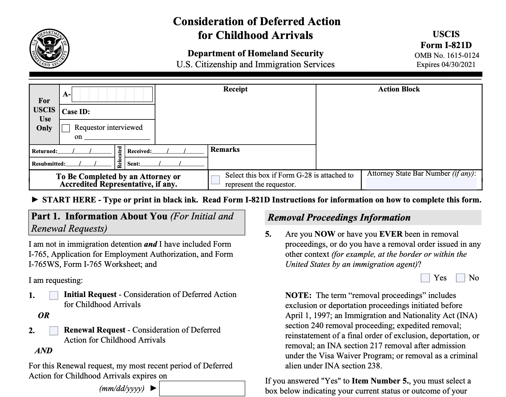 DACA Form 821D - USCIS I-821D
