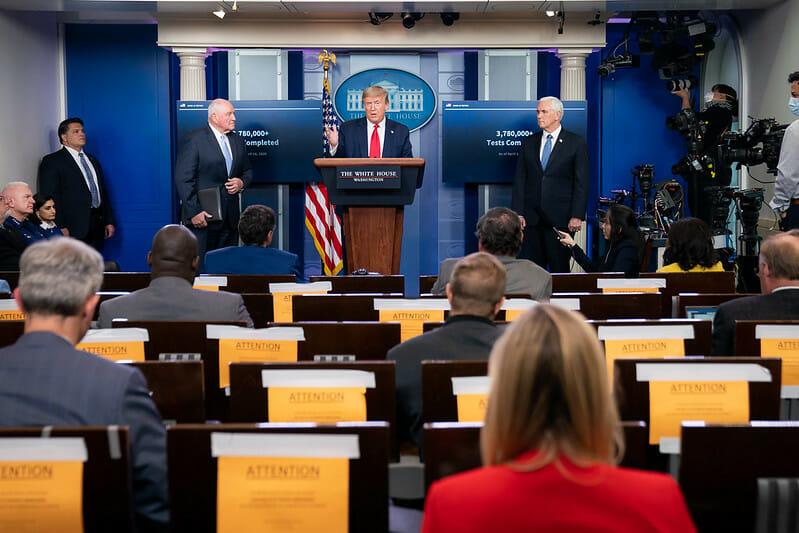 President Trump at a 2020 coronavirus press briefing