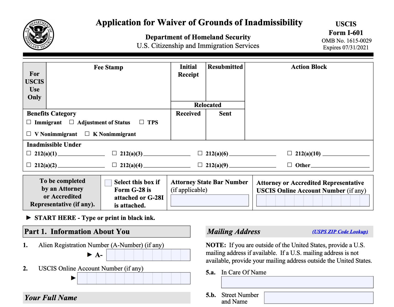 Form I-601