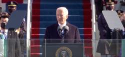 Biden speaking during the inauguration.
