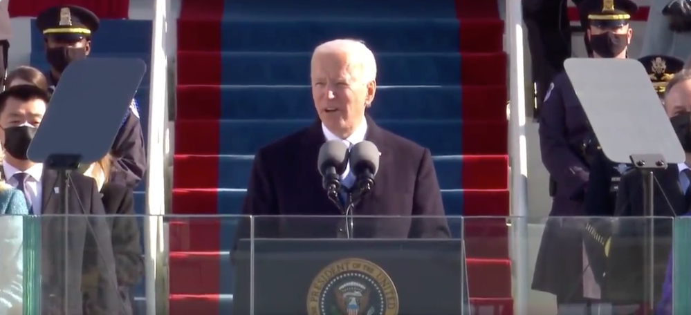 Biden speaking during the inauguration.