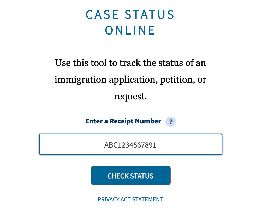 USCIS online case status tracker