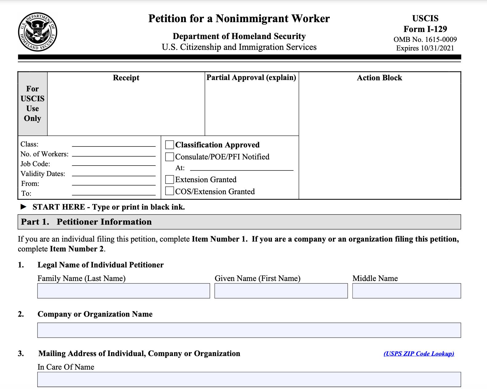 The H-1B visa form, Form I-129
