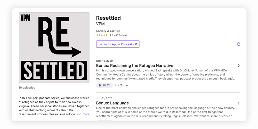 Resettled immigrant podcast