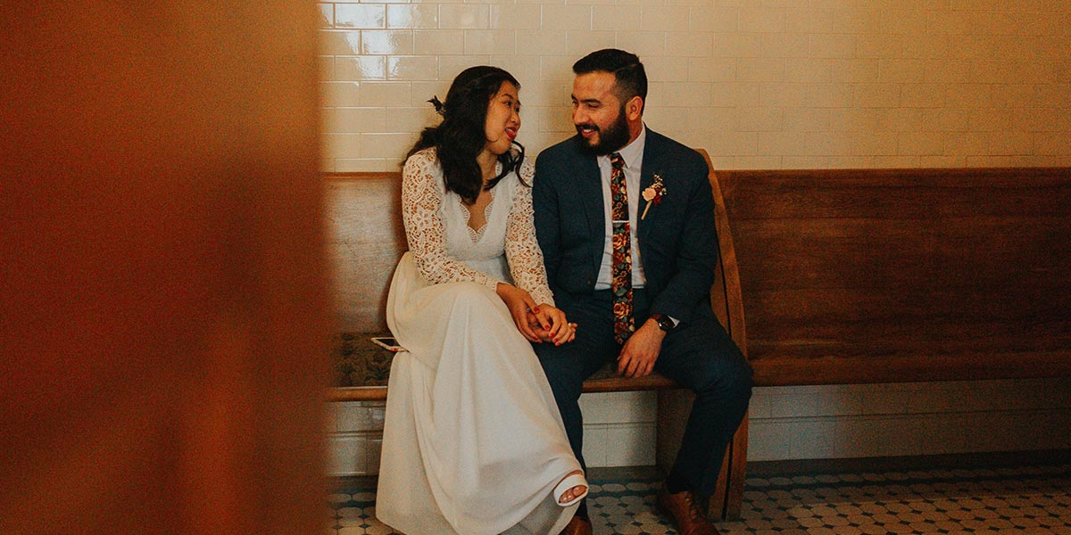 Immigrant couple getting married at the courthouse