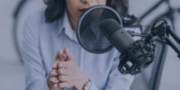 Immigrant doing a podcast