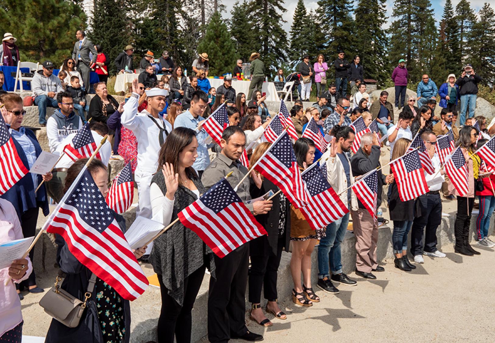 A naturalization oath ceremony outside